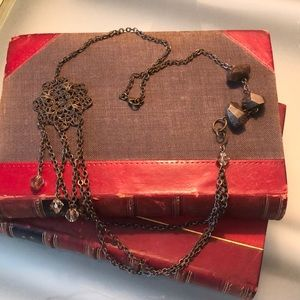 Dark copper metal, stone, beaded necklace